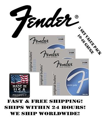 *FENDER 3150R REGULAR ELECTRIC GUITAR STRINGS (10-46 GAUGE, 3 INDIVIDUAL PACKS!)