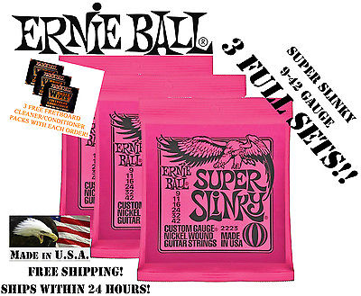 ** 3 SETS! ERNIE BALL SUPER SLINKY ELECTRIC GUITAR STRINGS 2223 **