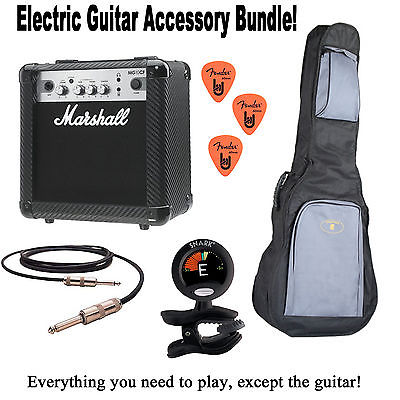 MARSHALL ELECTRIC GUITAR STARTER PACKAGE - AMP, BAG, CABLE, TUNER, AND PICKS!!