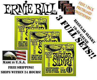 ** 3 SETS! ERNIE BALL REGULAR SLINKY 10-46 ELECTRIC GUITAR STRINGS 2221 **