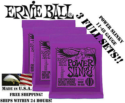 ** 3 SETS! ERNIE BALL POWER SLINKY ELECTRIC GUITAR STRINGS 2220 **