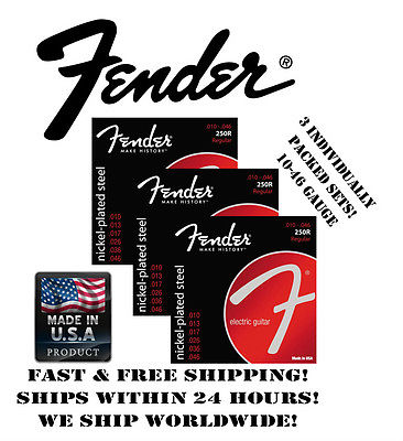 *FENDER 250R REGULAR ELECTRIC GUITAR STRINGS (10-46 GAUGE, 3 INDIVIDUAL PACKS!)*