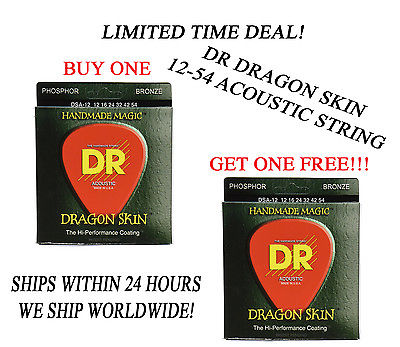 **DR DRAGON SKIN LIGHT ACOUSTIC GUITAR STRINGS (12-54) -- COATED STRINGS**