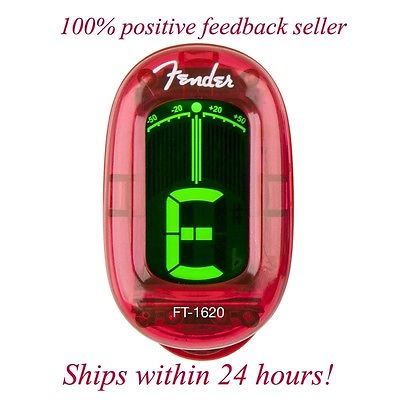 FENDER RED CALIFORNIA CHROMATIC HEADSTOCK TUNER FOR GUITAR, BASS, UKE, AND BANJO