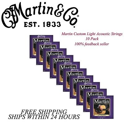 **10 SETS - MARTIN M175 ACOUSTIC GUITAR STRINGS CUSTOM LIGHT 80/20 BRONZE **