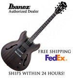 **IBANEZ AS53 HOLLOW BODY TRANS BLACK, INCLUDES FULL SET-UP AND FREE SHIPPING**