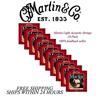 ** 10 SETS - MARTIN M140 ACOUSTIC GUITAR STRINGS LIGHT 80/20 BRONZE **