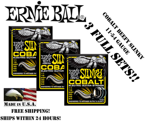 ** 3-PACK ERNIE BALL COBALT BEEFY SLINKY ELECTRIC GUITAR STRINGS 11-54 **