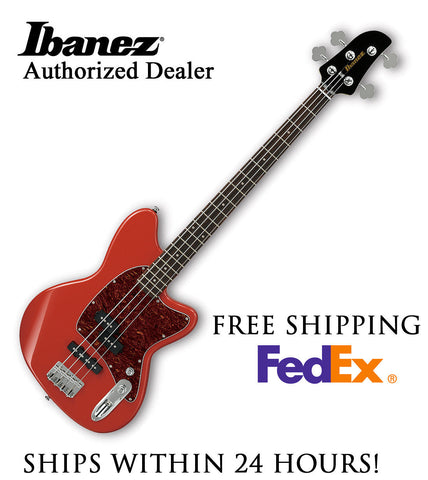 **IBANEZ TMB100 BASS GUITAR - CORAL RED, FULL PRO SET-UP AND FREE SHIPPING**