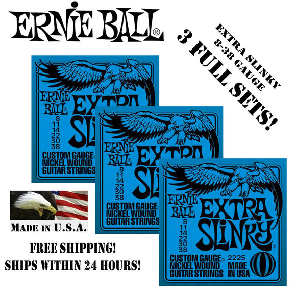 ** 3 SETS! ERNIE BALL EXTRA SLINKY ELECTRIC GUITAR STRINGS 2225 **