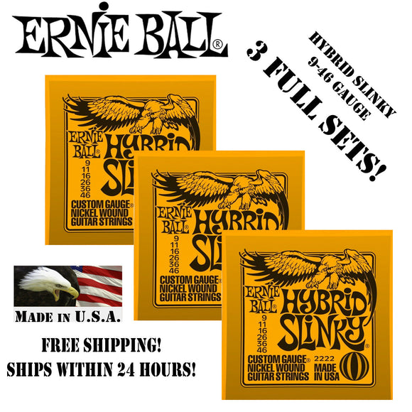 ** 3 SETS! ERNIE BALL HYBRID SLINKY ELECTRIC GUITAR STRINGS 2222 **