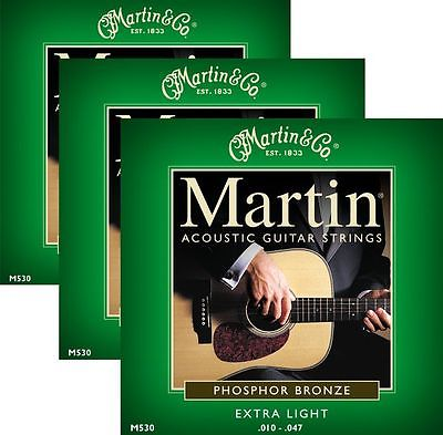 ** 3 SETS - MARTIN 530 ACOUSTIC GUITAR 92/8 PHOSPHER BRONZE EXTRA-LIGHT**
