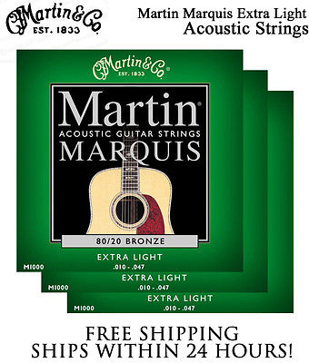 ** 3 SETS - MARTIN MARQUIS M1000 ACOUSTIC GUITAR STRINGS MEDIUM 80/20 BRONZE**