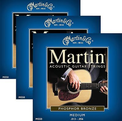 ** 3 SETS - MARTIN 550 ACOUSTIC GUITAR 92/8 PHOSPHER BRONZE MEDIUM**