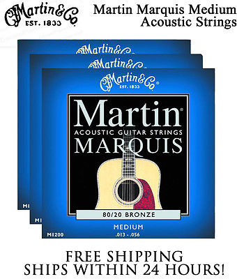 ** 3 SETS - MARTIN MARQUIS M1200 ACOUSTIC GUITAR STRINGS MEDIUM 80/20 BRONZE**