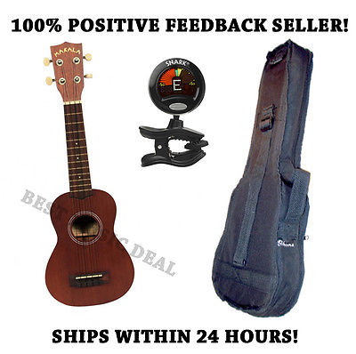 ** KALA MK-S MAKALA UKULELE PACKAGE W/HEAVY DUTY GIG BAG AND SNARK SN-5 TUNER **