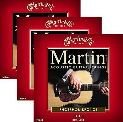 ** 3 SETS - MARTIN 540 ACOUSTIC GUITAR 92/8 PHOSPHER BRONZE LIGHT**