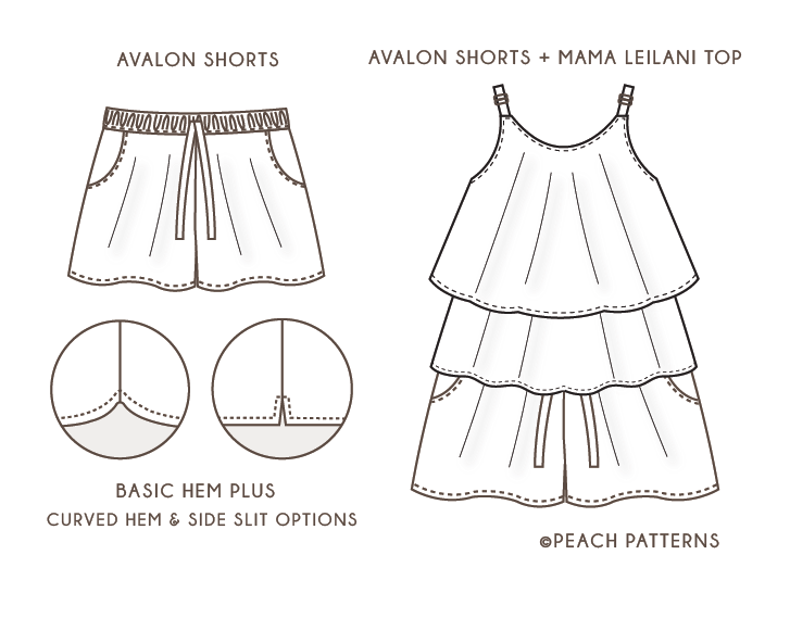 TWO PATTERN BUNDLE: Mama Leilani Dress & Top with Ruffle Overlay and ...
