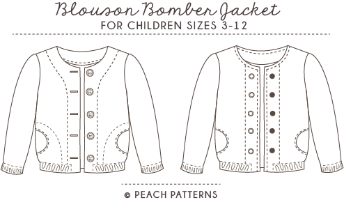 Blouson Bomber Jacket for Children PDF Sewing Pattern : Sizes 3-12 ...