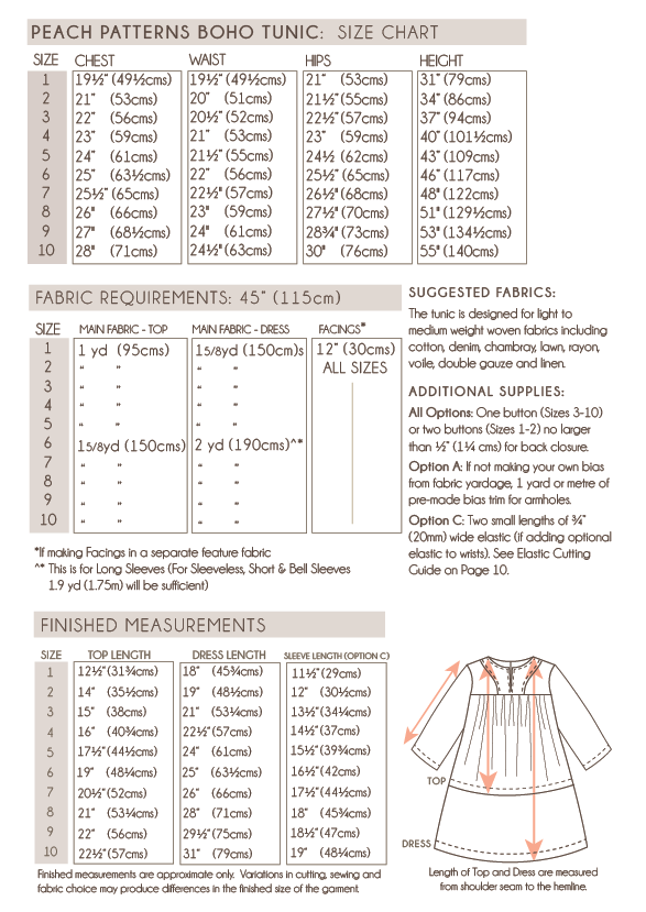 Boho Tunic Top & Dress PDF Sewing Pattern for Children : Sizes 1-10 ...