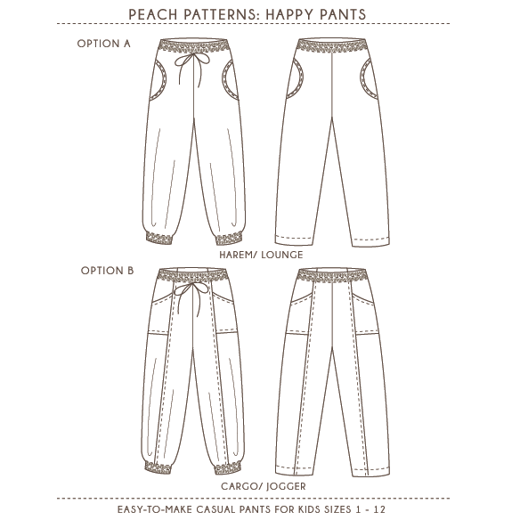 Happy Pants Harem Cargo Style Pants PDF Sewing Pattern For Girls Delectable Pants Sewing Pattern