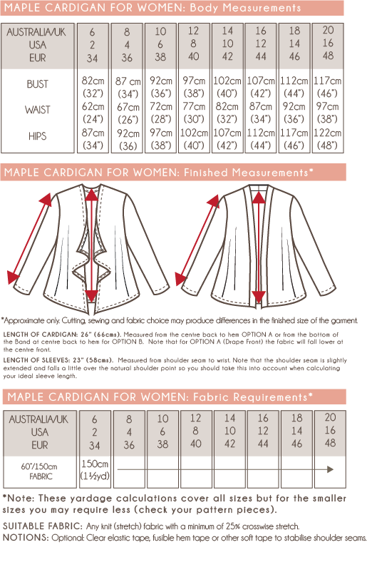 Peach Patterns Maple Cardigan For Women Size and Yardage Charts