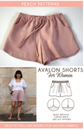 Peach Patterns Avalon Shorts for Women is a PDF sewing pattern for an easy-to-make pair of shorts. Pull-on with an elastic waistband, tie front, side pockets and a choice of three hem lines. These will be your new favourite shorts!