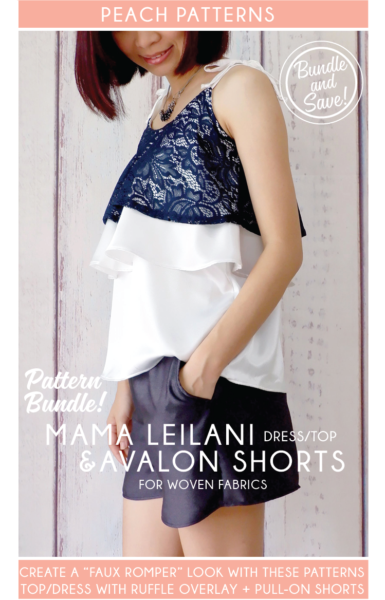 TWO PATTERN BUNDLE: Mama Leilani Dress & Top with Ruffle Overlay and Avalon Shorts PDF Sewing Patterns for Women