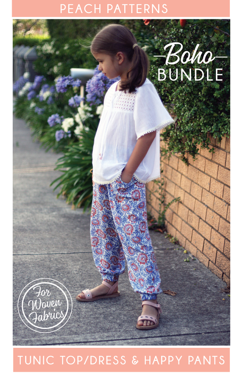TWO PATTERN BUNDLE: Boho Tunic Top/Dress & Happy Pants Harems/Cargos PDF Sewing Patterns for Children