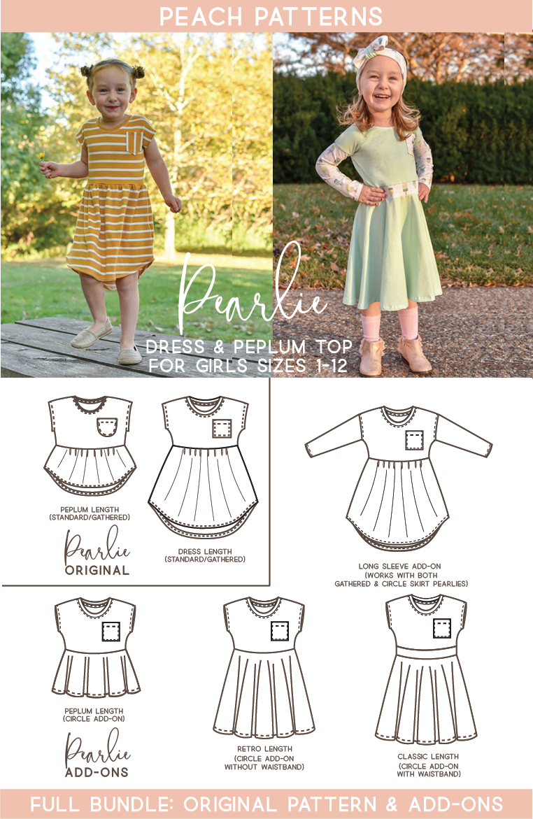 TWO PATTERN BUNDLE: Pearlie Dress & Peplum Top PDF Sewing Pattern for Girls PLUS Circle Skirt, Waistband & Long Sleeve ADD-ONS