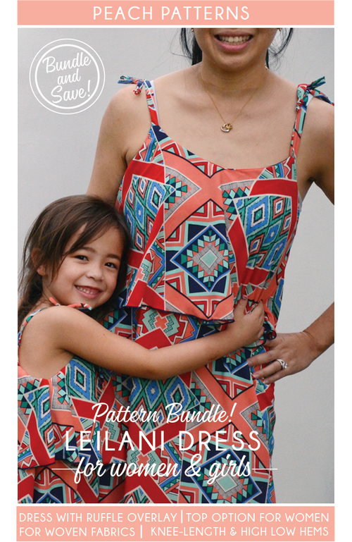 TWO PATTERN BUNDLE: Leilani Dress for Women and Girls PDF Sewing Patterns