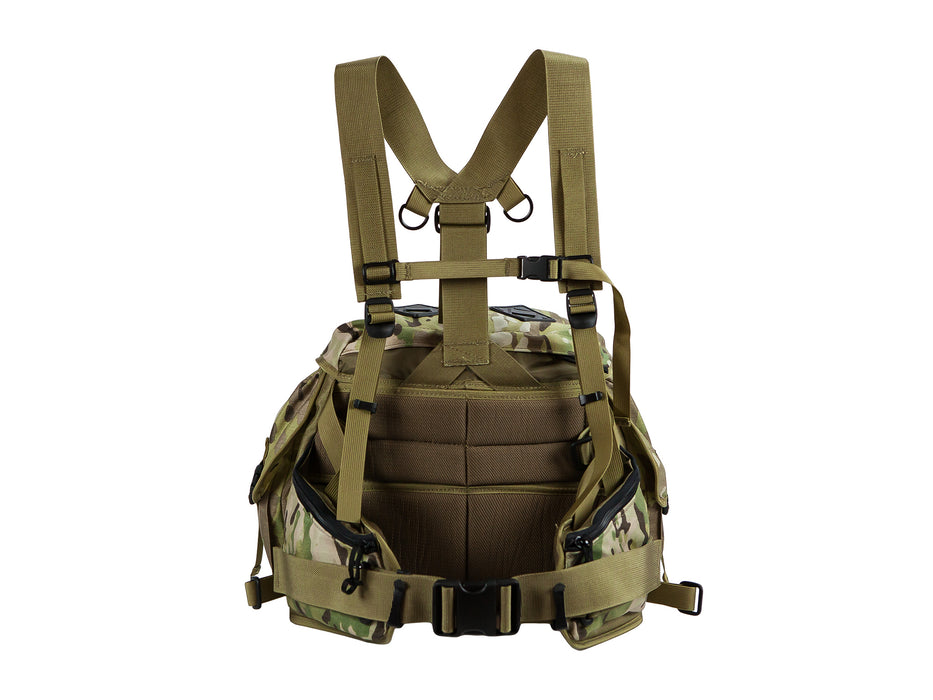 This is the padded side of the Outdoorsmans Butte 25 Hip Pack in Multicam camouflage with the shoulder harness pictured.