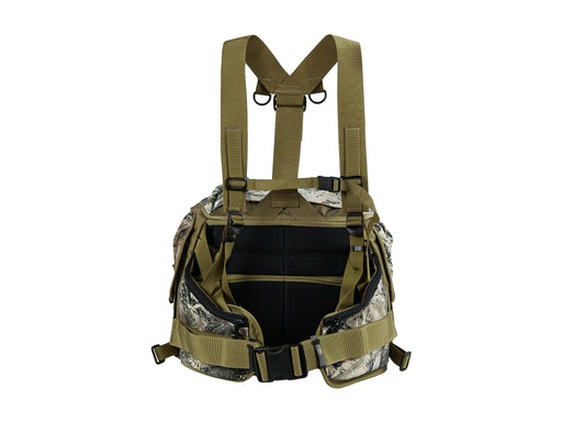 This is the padded side of the Outdoorsmans Butte 25 Hip Pack in True Timber camouflage with the shoulder harness pictured.
