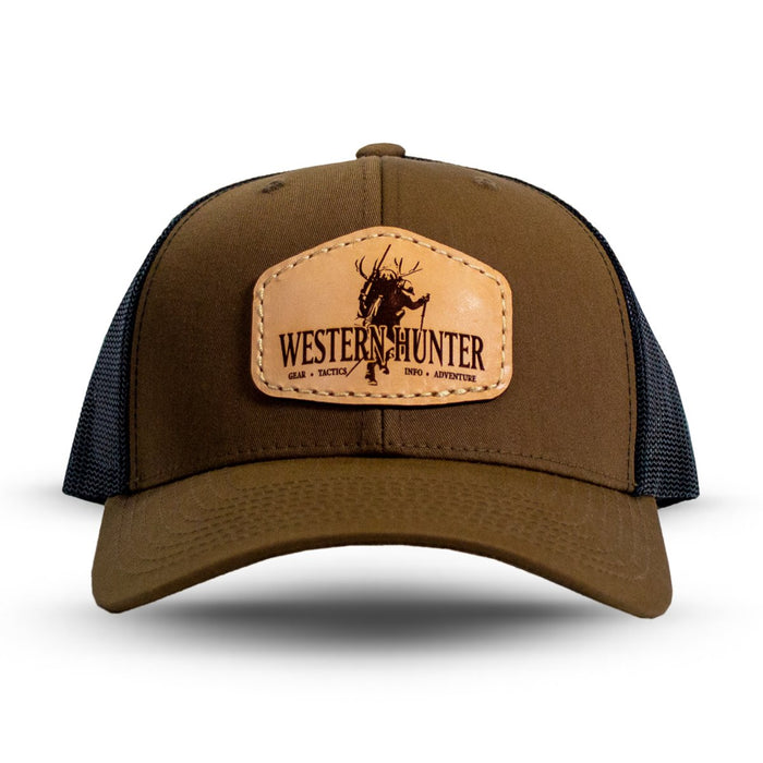 Authentic Leather Patch Hat - Coyote Brown/Black