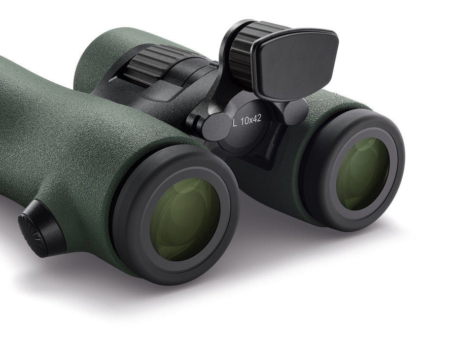 Swarovski NL Pure binoculars pictured with a headrest protruding from the bridge of the binocular above the diopter.