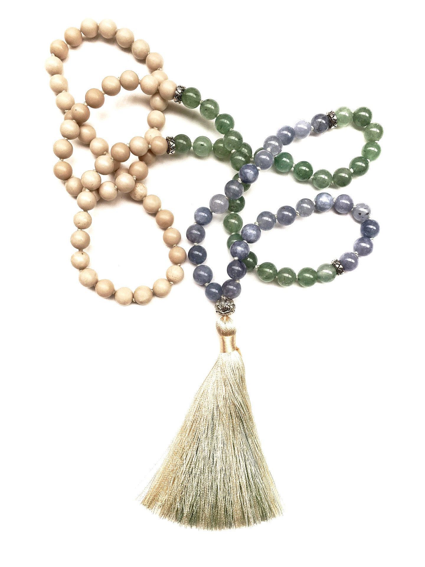 Aquamarine amazonite, riverstone mala beads tassel