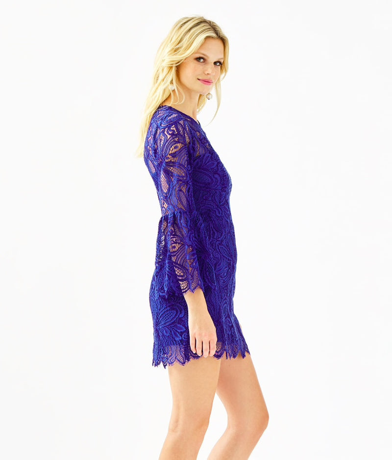 "Lilly Pulitzer ""Denise"" Flounce Sleeve Romper, Lapis Lazuli Floral Loopy Lace"