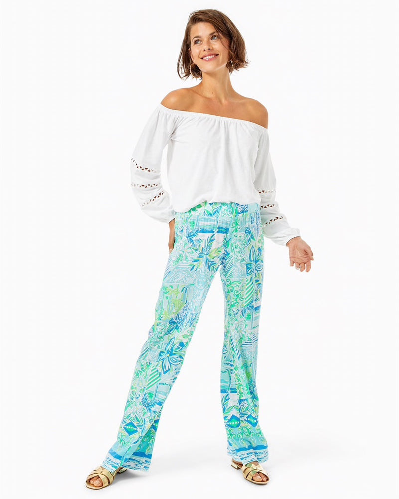 "Lilly Pulitzer 33"" ""Bal Harbour"" Mid-Rise Palazzo Pant, Whisper Blue Beach Happy Engineered Pants"
