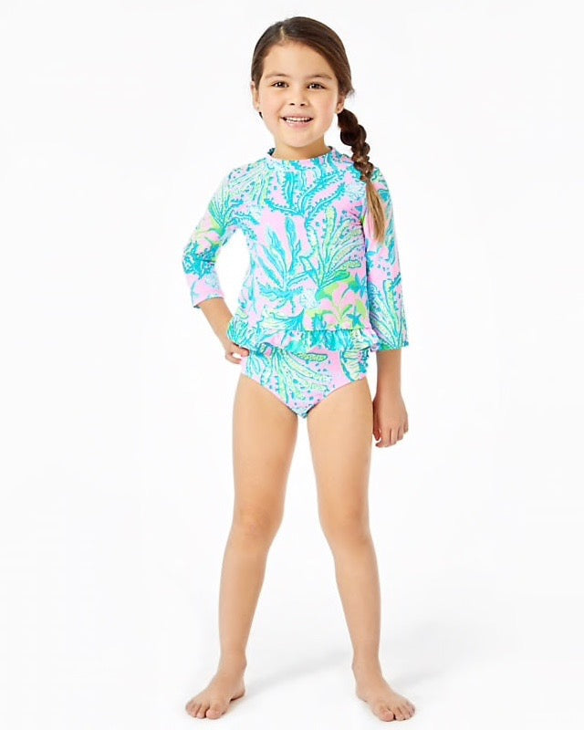 Lilly Pulitzer UPF 50+ Girls Retreat Rashguard Set, Mandevilla Bay Hip Nautic