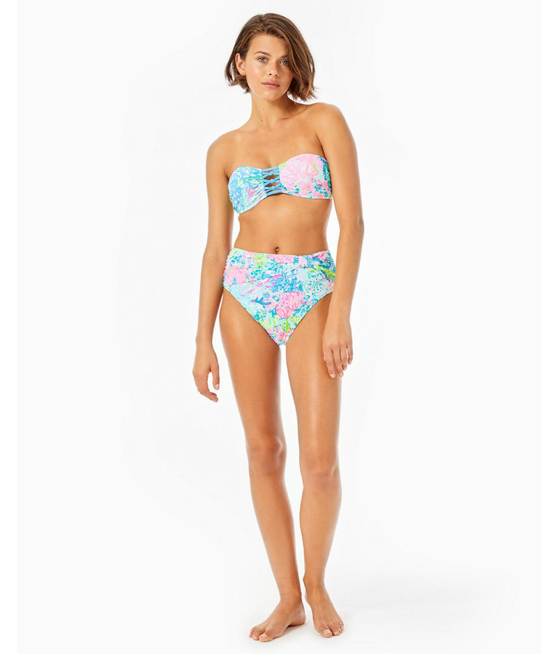 "Lilly Pulitzer ""Taj"" High Waisted Bikini Bottom, Multi Fished My Wish"