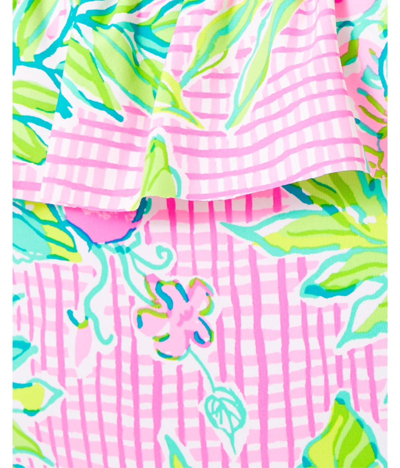 "Lilly Pulitzer ""Fiesta"" One-Piece Swimsuit,  Multi Dont Stop Beleafing"