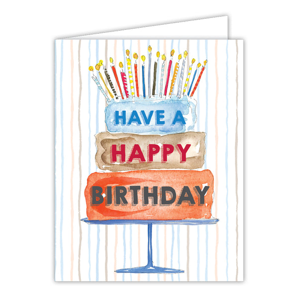 RosanneBeck Collections - Have a Happy Birthday Cake Blue Small Folded Greeting Card