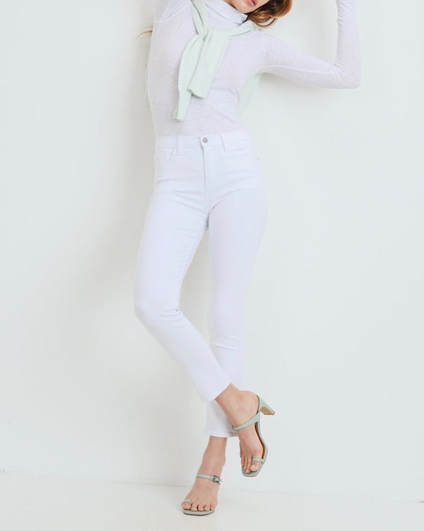 High Rise Cigarette White Denim