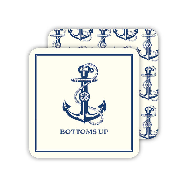 RosanneBeck Collections - Bottoms Up Navy Anchor Coaster