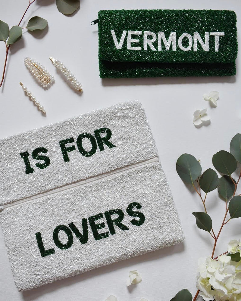 Vermont is for Lovers Beaded Clutch *3 to 4 week production time*