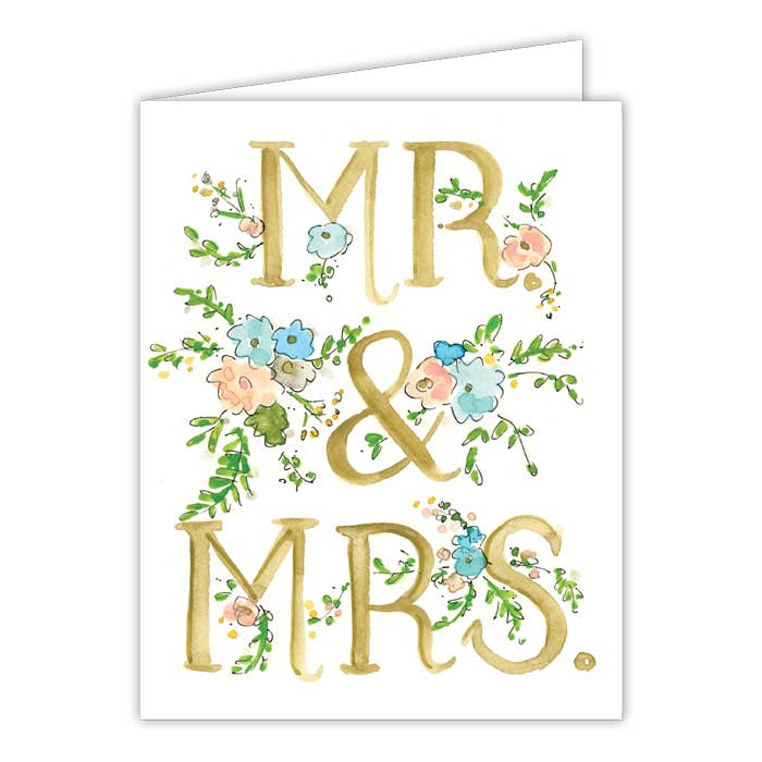 RosanneBeck Collections - Mr and Mrs Floral Small Folded Greeting Card