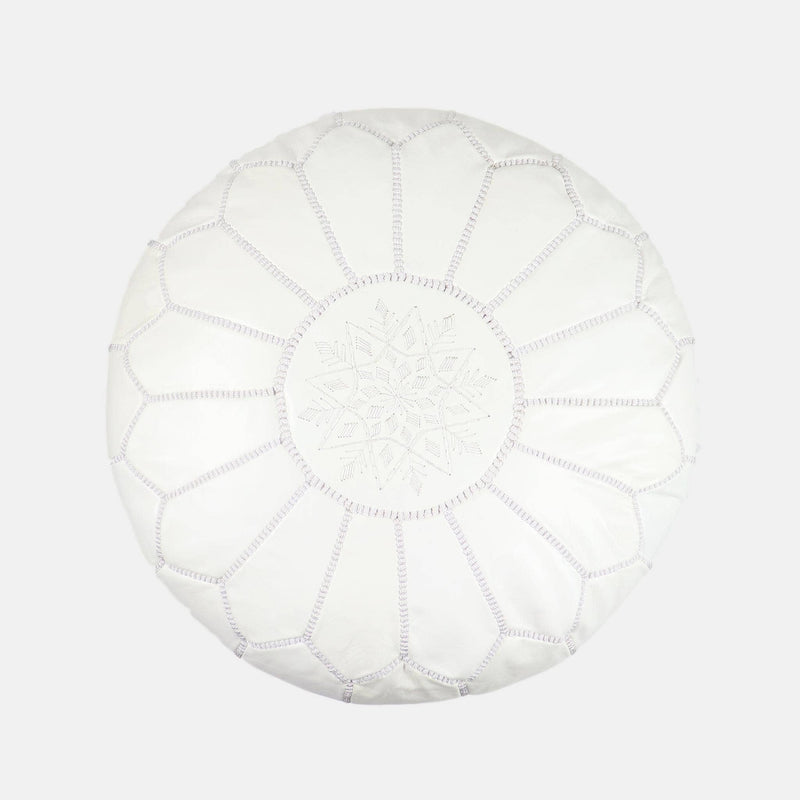 Moroccan Ivory Leather Pouf