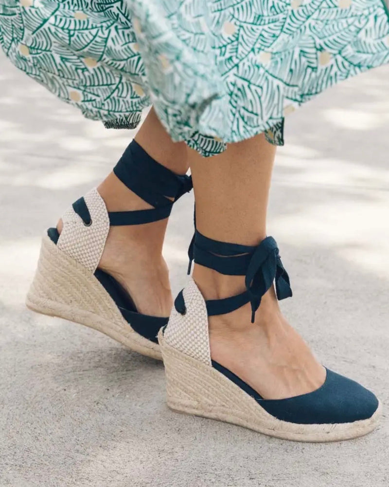 "Soludos Classic 3.5"" Wedge - Navy"