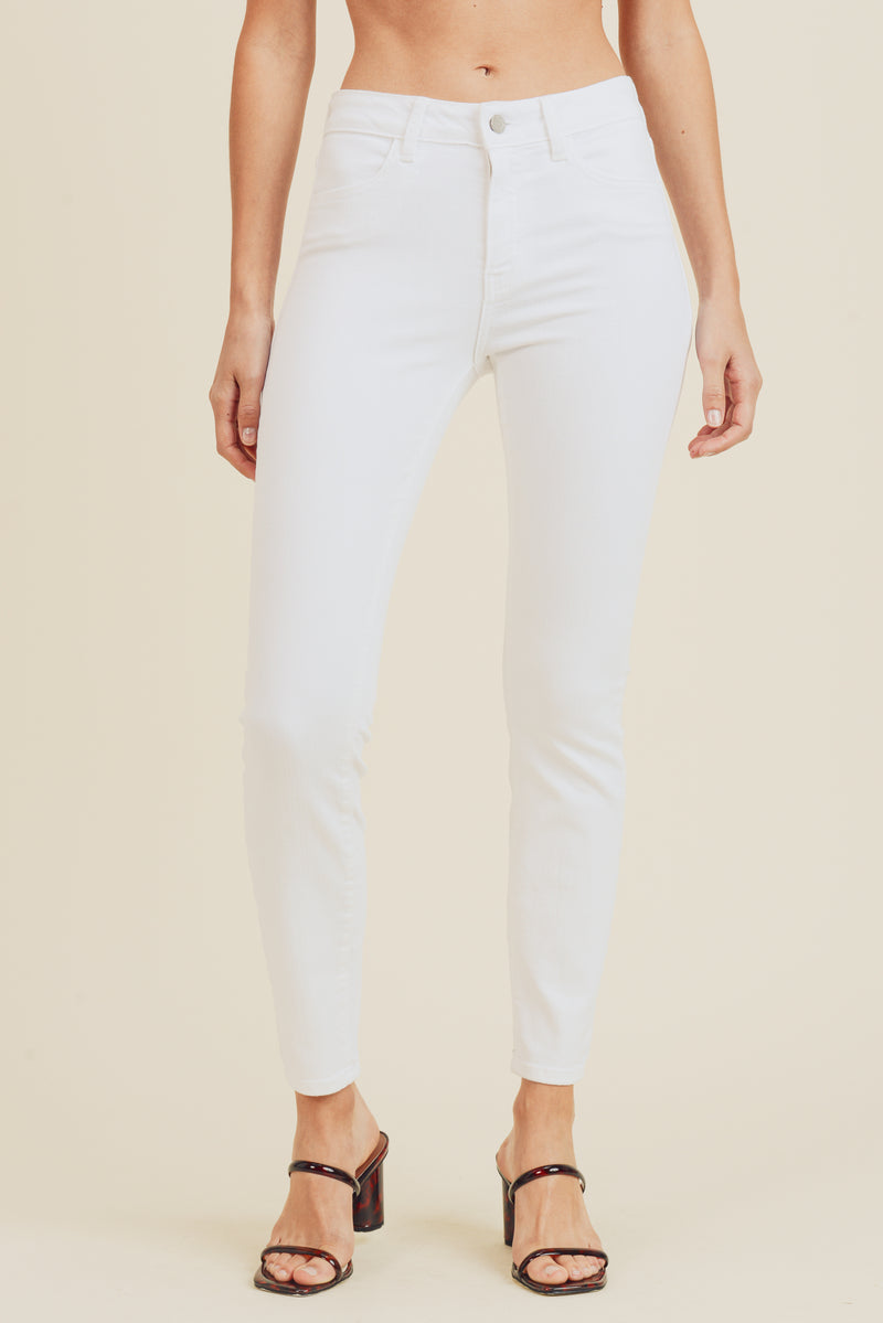 High Rise Skinny White Denim