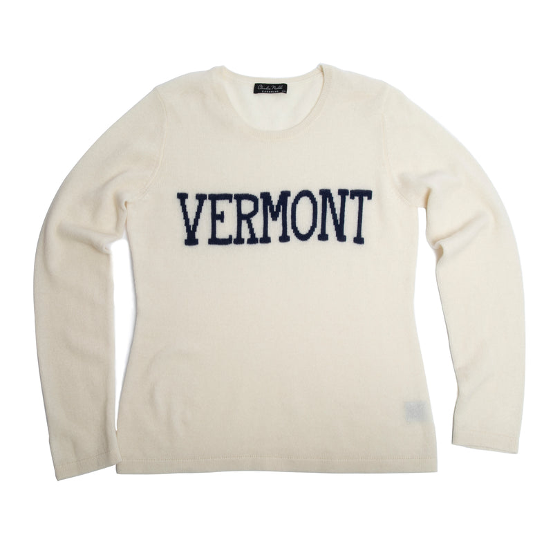 VERMONT cashmere sweater, Ivory/Navy